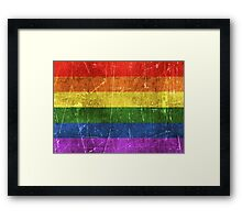Vintage Aged and Scratched Rainbow Gay Pride Flag Framed Print