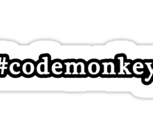 Code Monkey - Hashtag - Black & White Sticker