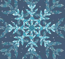 Polygonal Snowflake With blue Background by creativenergy