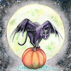 Halloween Full Moon Raven Cat Watercolor Painting by Anila Tac