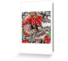 Gamblers Delight - Las Vegas Icons Background Greeting Card