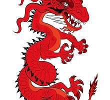 Red Dragon on White by Dave Stephens