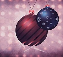Two Christmas balls on grunge background by AnnArtshock