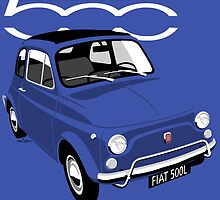 Classic Fiat 500L blue by car2oonz