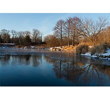 Still and Early - Icy Reflections With a Touch of Snow Photographic Print
