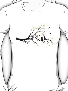 Cats in love with red hearts on spring tree T-Shirt