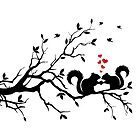 squirrels on tree branch with red hearts by beakraus