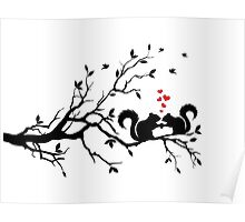 squirrels on tree branch with red hearts Poster