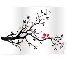 Kissing birds on love tree with red hearts Poster