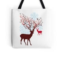 Christmas deer with tree branch antlers and birds Tote Bag