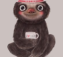 Sloth I♥yoga by limeart