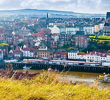 Scenic view of Whitby city in autumn sunny day by Stanciuc