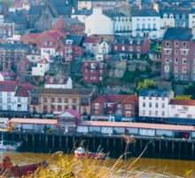 Scenic view of Whitby city in autumn sunny day Sticker