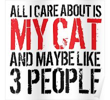 Excellent 'All I Care About Is Cat And Maybe Like 3 People' Tshirt, Accessories and Gifts Poster