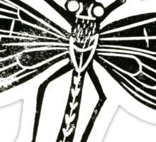 Dragonfly Insect Lino Print Sticker