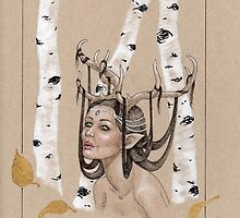 Antler Girl - Silver and Gold by OneForWhimsy