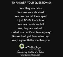 Answering Your Twins Questions - AWoT T-Shirt