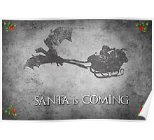 Game of Thrones Christmas Card: Santa is Coming (with Dragons) Poster