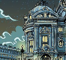 Opéra de Paris at Night by aurielaki
