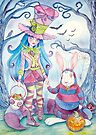 Alice and the White Rabbit, dressed as the Hatter and the Cheshire Cat for Halloween by Wil Zender