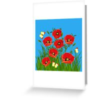 Poppies and Butterflies Greeting Card