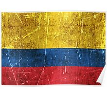 Vintage Aged and Scratched Colombian Flag Poster