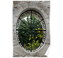 A Lush Garden Framed in a Fence Window Poster
