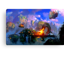 Dragon attacking floating island Canvas Print
