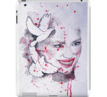 Woman and doves watercolor painting iPad Case/Skin