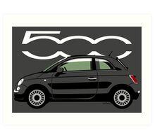 New Fiat 500 black Art Print