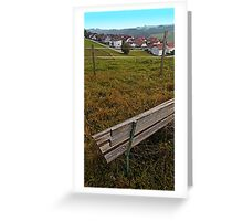 Bench with a village view | landscape photography Greeting Card