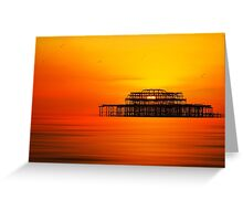 Sunset over West Pier, Brighton. Greeting Card