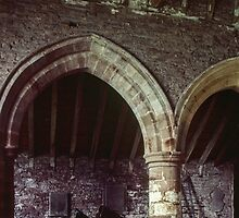 Old dray at back of St Nicholas church Grosmont Wales 198405180031 by Fred Mitchell