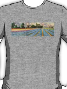 Spring Flower Fields Landscape Painting Triptych T-Shirt