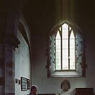 Marj seated at rear of nave church of St Nicholas Grosmont Wales 198405180041  by Fred Mitchell