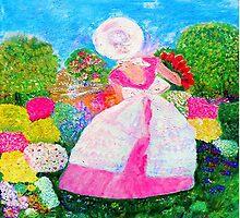 Gretchen in the Garden Pink by Marie-Jose Pappas by innocentorigina