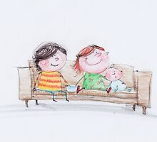 Happy siblings hanging out on the couch by 15mindrawings