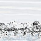 Firenze Italy a bridge over the Arno * by James Lewis Hamilton