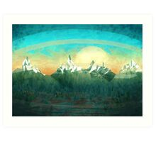 Mountains over the sky - minimalist digital painting Art Print