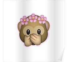 Emoji Monkey Flower Crown Edit Poster