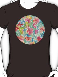 Tropical Floral Watercolor Painting T-Shirt