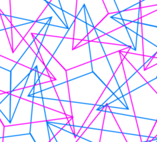 Abstract Geometric 3D Triangle Pattern in Blue / Pink Sticker