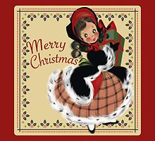Adorable Vintage Christmas Girl Shopper by nhrdesigns1953
