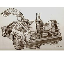 Delorean time machine drawing Photographic Print