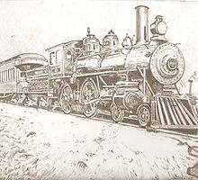 Nostalgic train drawing by RobCrandall