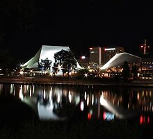 Adelaide Festival Theatre, reflected in the Torrens at night by Ferenghi
