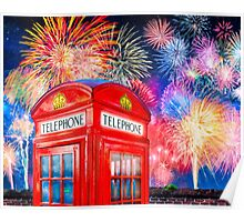 British Celebration With Fireworks - Red Telephone Box Poster