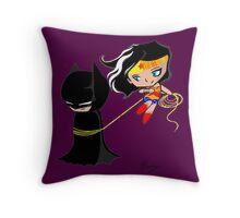Batman and wonder woman Throw Pillow
