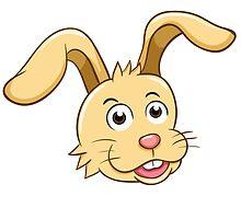 Head of funny yellow cartoon rabbit by berlinrob