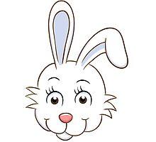 Head of cute white cartoon rabbit by berlinrob